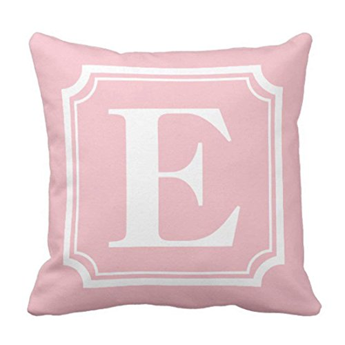 Throw Pillow Cover Customizable Vintage Border Pink Personalized Monogram Initials Decorative Pillow Case Home Decor Square 18 x 18Inch Pillowcase (Initial Pillow)