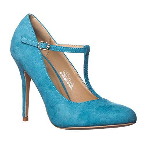 (Riverberry Women's Sadie Round Toe T-Strap High Heel Pumps, Turquoise Suede, 7)