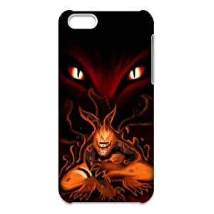 iPhone 5C(3d) Cell Phone Case with Cool Cartoon's Image of Naruto Fire Wolf,Light Plastic Materials Shock Absorbing and Scratch Resistant Perfect 2 in 1