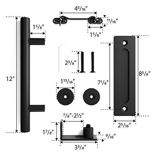 6.6ft Heavy Duty Sliding Barn Door Hardware Kit, 6.6ft Single Rail, Black, (Whole Set Includes 1x Pull Handle Set & 1x Floor Guide & 1x Latch Lock) Fit 36''-40'' Wide DoorPanel (Bigwheel Hanger) by SMARTSTANDARD (Image #5)