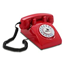 OPIS 60s CABLE: designer retro phone / rotary dial telephone / retro style phone / vintage telephone / classic desk phone with rotary dialler (red)