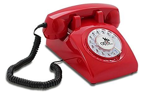 OPIS 60s CABLE avec étiquette Opis: téléphone rétro/téléphone fixe vintage/téléphone design rétro/téléphone fixe filaire/vieux téléphone avec cadran rotatif (rouge)