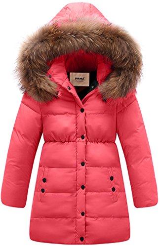 110 Cm Hood (ZOEREA Big Girls' Winter Parka Coat Puffer Jacket Padded Overcoat With Fur Hood)