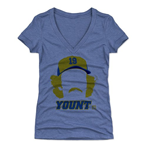 - 500 LEVEL Robin Yount Women's V-Neck Shirt Large Tri Royal - Vintage Milwaukee Baseball Women's Apparel - Robin Yount Silhouette B