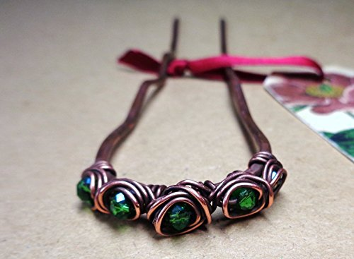 Copper Hair Fork with Light Green Beads, Custom Length Metal Hair Pin, Handmade Womens Hair Accessory