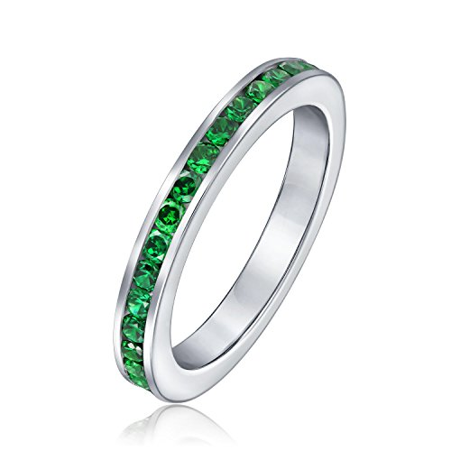 Bling Jewelry Sterling Silver Simulated Emerald CZ Eternity Ring