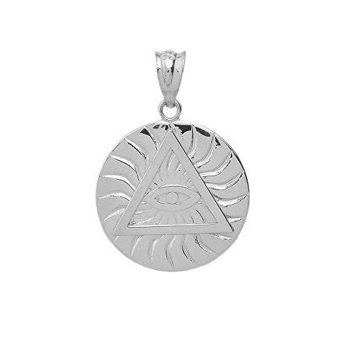 Sterling Silver Triangle Eye of Providence Illuminati All Seeing Eye Round Pendant