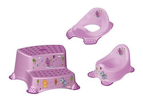 3er Set Z Hippo lila WC Aufsatz + Kindertopf + Hocker zweistufig Toilettentrainer OKT Kids