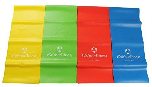 4er-Set Fitnessbänder »Lavana« / Sportband, Trainingsband in den Farben und Stärken gelb 0,35 leicht / grün 0,45 mittel / rot 0,55 kräftig / blau 0,75 stark