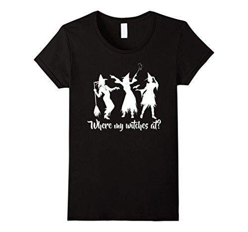 Women's Where my Witches at? Halloween Party T-Shirt. Amuck Ladies XL (Scary Contact Lenses For Halloween)