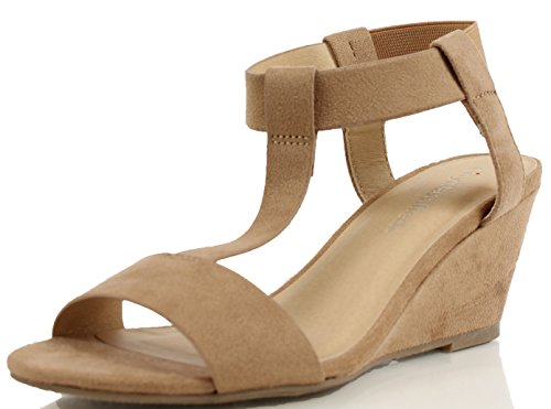 City Classified Womens Noah Faux Suede T Strap Ankle Strap Wedge Natural hnhDyhb