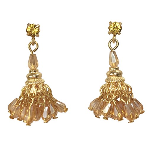 Pom Pom Glass Bead Chandelier Fancy Gold Tone Dangle Post Earrings (Topaz Brown ()