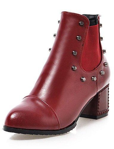 GGX/ Damen-High Heels-Kleid / Lässig-Kunstleder-Blockabsatz-Spitzschuh-Schwarz / Gelb / Rot red-us5 / eu35 / uk3 / cn34