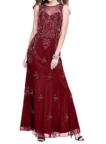 Weinrot Damen Brautmutterkleider Promkleider Glamour Abschlussballkleider Spitze Charmant Abendkleider etuikleider 4FPqS