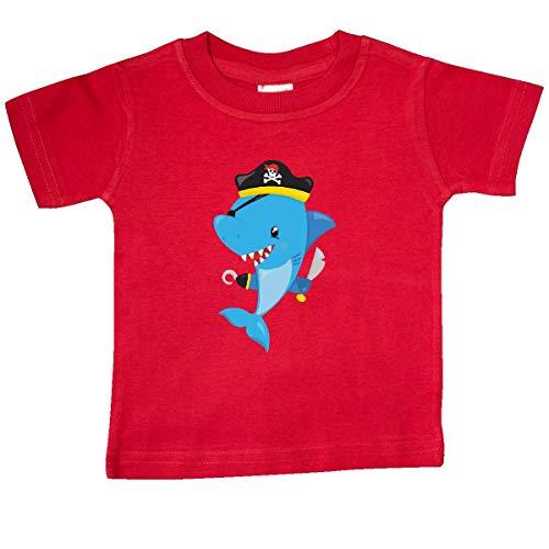 inktastic - Pirate Shark, Shark Wearing Pirate Baby T-Shirt 24 Months Red 35a95 ()