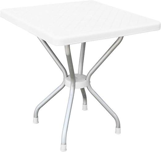 Mr CHAISE Table de Jardin carré en Plastique et Pied