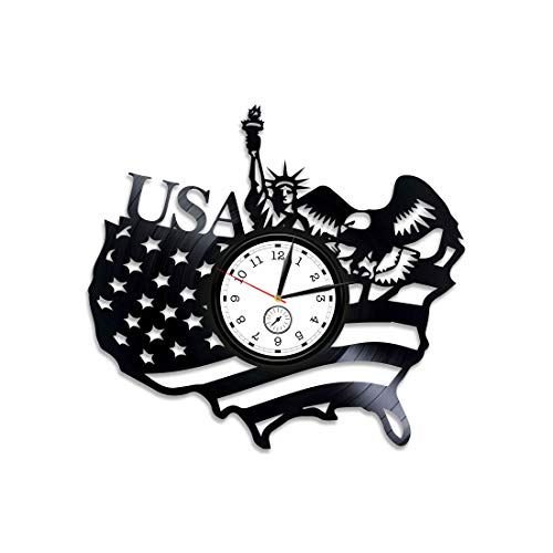 Kovides Statue of Liberty Wall Clock Modern American Flag Vinyl Clock American Flag Xmas Gift USA Vinyl Wall Clock Statue of Liberty Vinyl Record Wall Clock New Year Gift New York USA Clock