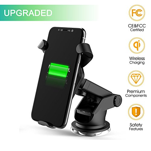 Wireless Car Charger Qi Fast Charger Car Mount with Air Vent Phone Holder Suction Mount for Samsung Galaxy S8/S8+/S7 Edge/S6 Edge+/Note 5, Standard Charger for iPhone 8/8+, iPhone X, Qi-Enabled Device