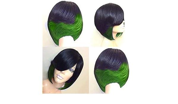 Peluca mujer angelof Courte cuadrado Lace Natural Hair Cola ...