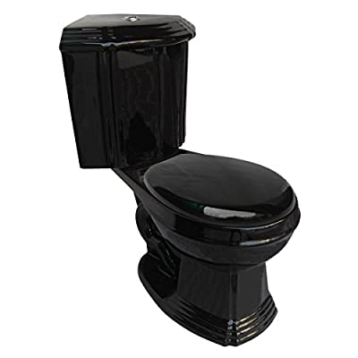 Black Corner Toilet Ceramic Round Space Saving Bathroom Toilet Grade A Porcelain Space Saving Design Includes Slow Close Toilet Seat | Renovator's Supply