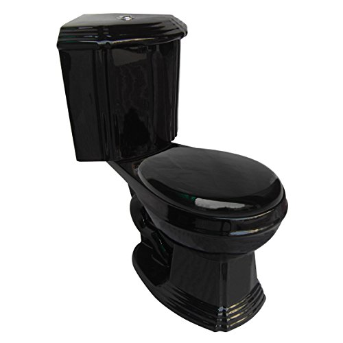 Black Corner Toilet Ceramic Round Space Saving Bathroom Toilet Grade A Porcelain Space Saving Design Includes Slow Close Toilet Seat | Renovator's ()