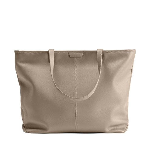 Large Zippered Downtown Tote - Full Grain Leather Leather - Ginger (gray) by Leatherology