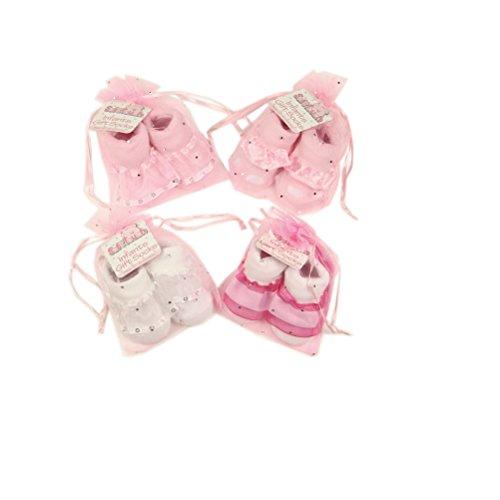 Little Angel Stocking - Cute Little Angel satin ribbon gift socks by - White Flower Ribbon - 0-6 Months