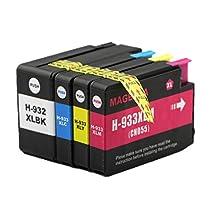 4x Imprimieux Cartouche d'encre 932XL + 933XL compatible pour HP Officejet 6100 6700 6600 7110 7610 7510 7512