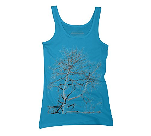 Abstract Winter Tree Juniors X Large Turquoise Graphic Tank Top