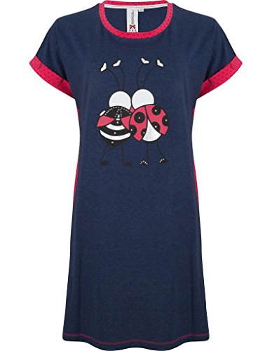 Rebelle 1171-236-2-565 Women's Navy Blue Ladybird Cotton Jersey Night Gown Nightdress