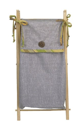 100% Cotton Cotton Tale Designs Elephant Brigade Hamper in Gray/Grey Strip with Multi Colored Strip & Trim w/Wood Button on a Natural Sturdy Wooden Hamper Frame- Also Available on White - Elephant Cotton Tale