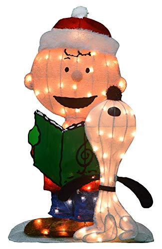 Product Works 32-Inch Pre-Lit Peanuts Charlie Brown and Singing Snoopy Christmas Yard Art, 70 Lights]()