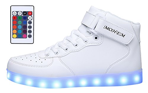 MOHEM ShinyNight High Top LED Shoes Light Up USB Charging Flashing (Light Up Shoes For Adults)