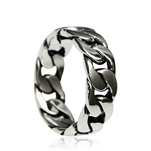 Adisaer Biker Rings Silver Ring for Men Chain Ring Tribal Biker Size 7.5 Vintage Punk Jewelry by Adisaer