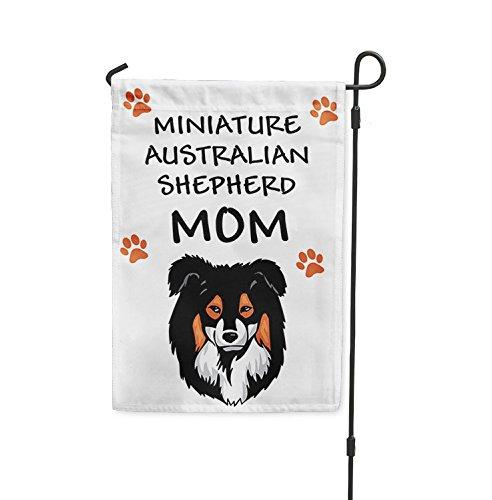 MINIATURE AUSTRALIAN SHEPHERD DOG Mom Yard Patio House Banner Garden Flag Stake Flag & Garden Pole 10 1/2
