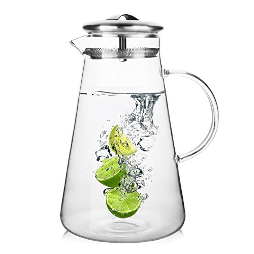 Hiware 68 Ounces Glass Pitcher with Lid, Refrigerator Pitche