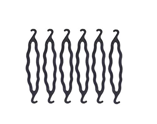6PCS Black Plastic Bun Maker Curler Double Hook Hair Styling Crooked Hairpins Donut Bun Head Hair Twist Braid Hairdressing Tool Elegance Updo Hairstyles for Women Lady Girls (Hook Functional)