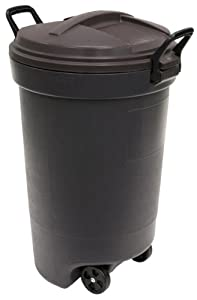 3. Rubbermaid RM133902 32 Gallon Round Wheeled Trash Can in Kona Color