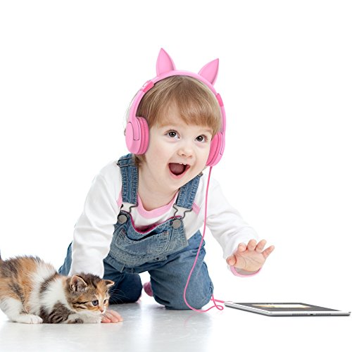 iClever BoostCare Kids Headphones, Wired Over Ear Headphones with Cat Ears, 85dB Volume Limited, Food Grade Silicone, 3.5mm Jack (HS01), Pink