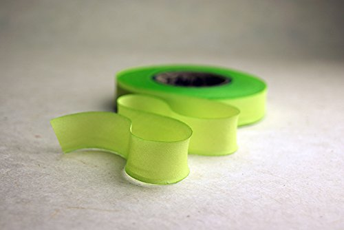 2.5'' (62mm) Hand dyed silk ribbon bias cut 38 yard spool - Color 514 Green