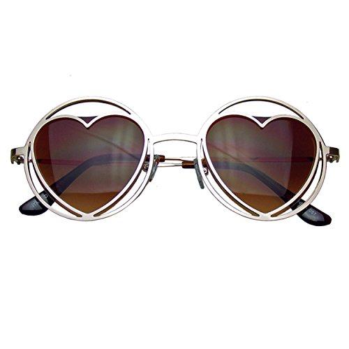 Forme Métal Soleil Lunettes De Emblem Or Coeur Hippie Womens Eyewear Cercle Fonde XwXtaqHxC