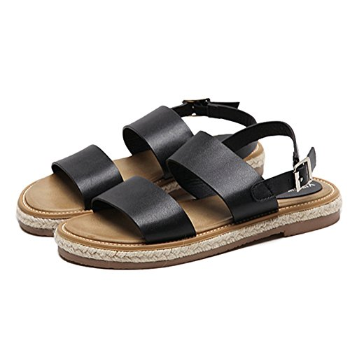 Btrada Women Peep Toe Roman Flat Sandals Buckle Casual Sandals Black E7fmSH4M3