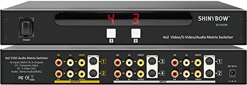 Shinybow 4x2 (4:2) Composite RCA S-Video + Audio A/V Matrix Switcher with Rack Mount SB-5450M ()