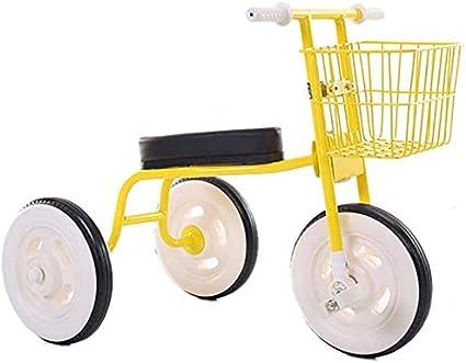XCG Retro Simple de Triciclo Infantil del bebé 1-3-4 años Interiores de automóviles Cochecito de bebé de Edad (Color: Blanco),Yellow