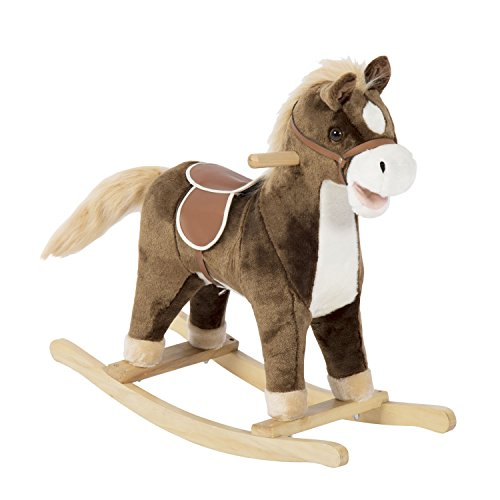 Kinbor Brown Wooden Rocking Horse Plush Toys Rocker with Sound for Kids Ages 2-3 Years, Birthday Gift