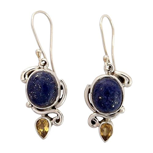 NOVICA Lapis Lazuli and Citrine Dangle Earrings in 925 Sterling Silver Settings 'Royal Charm'
