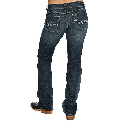 Wrangler Women's Premium Patch Mae Boot Cut Jean-Sits above Hip, Navy, 15x34