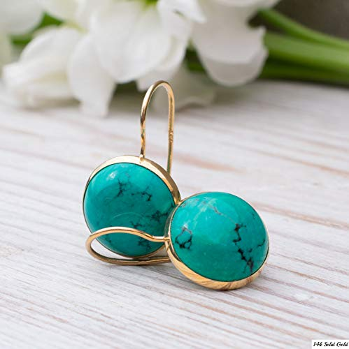 14K Gold Turquoise Earrings - 14K Solid Yellow Gold Dangle Drop Earrings, December Birthstone, Dainty 12mm Turquoise Gemstone, Simple Minimalist Handmade Jewelry Statement Earrings ()