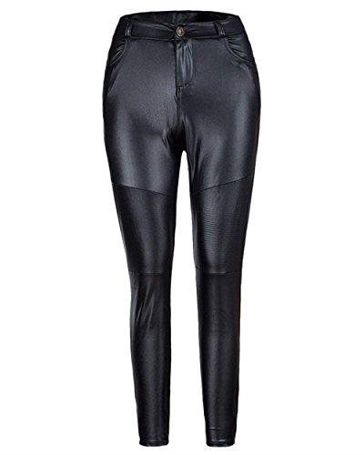 Donna Leggings Eleganti Moda Vintage Primaverile Autunno Leggins Pelle Monocromo High Waist Cute Chic Con Tasche Pantaloni Pelle Jogging Pantaloni Pantalone Khaki