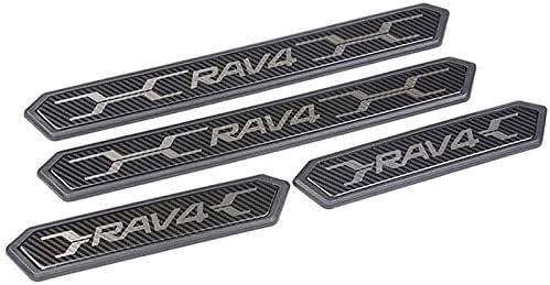 Iycorish Stainless Steel Door Sill Protectors Door Sill Scuff Plate Guard 4 Pcs Set for RAV4 2019-2020